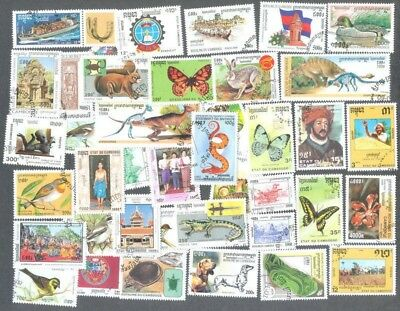 Cambodia 400 all different stamps many thematics