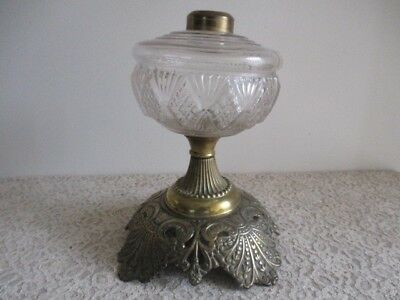Antique Victorian Oil Lamp Font with an Ornate Cast Metal Base Numbered 1007
