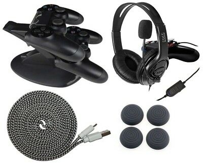 PS4 Gaming Headset + Controller Ladestation + Thumb Grips + Ladekabel 3 Meter