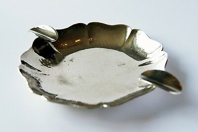 Vintage Silver plated [100] ashtray by Sola, Holland; Hammered finish; Antique.