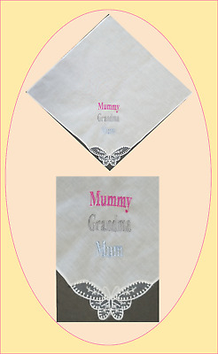 Ladies Personalised Embroidered Lace Butterfly Corner Handkerchief Hankies Gift
