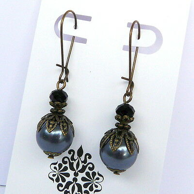 Victorian Antique Style Gunmetal Grey Gray Pearl Black Crystal Bronze Earrings