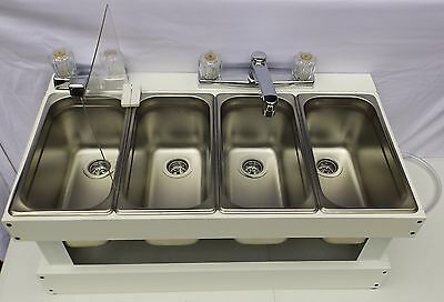 Portable Sink Mobile Concession, 4 Compartment sink, Table Top Sink SMS