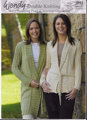 "Wendy Knitting Pattern Ladys Long And Short Wrap Jackets Dk 32"" - 42"""
