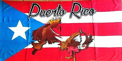 BORICUA FLAG CITIES Cotton Twill Puerto Rico Rican 30 x 60 INCHS Beach Towel