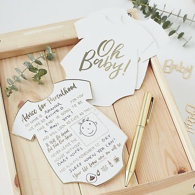 White & Gold Baby Shower Mum Mummy To Be Keepsake Advice Cards Games Decorations