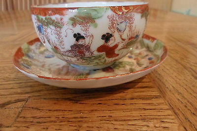 Beautiful Hand Painted Man & Geishas In Scenes Cup and Saucer, Signed