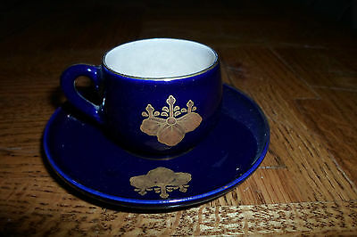 Beautiful Hand Decorated Gold Leaves Cobalt Blue Demitasse Cup And Saucer, Chop