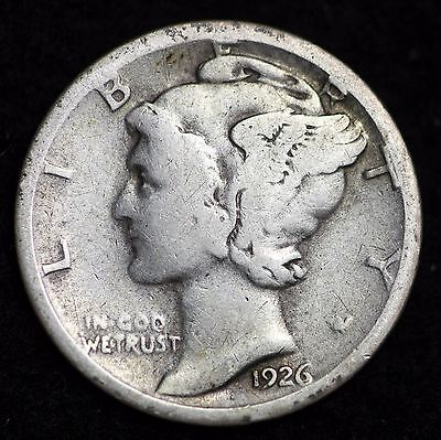 1926-S Mercury Dime / Circulated Grade Good / Very Good 90% Silver Coin