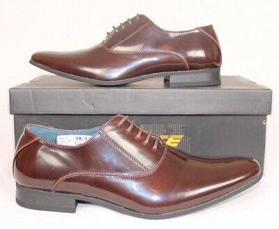 Mens-Goor-Brown-Patent-Shoes-Size-6-7-8-9-10-11-12