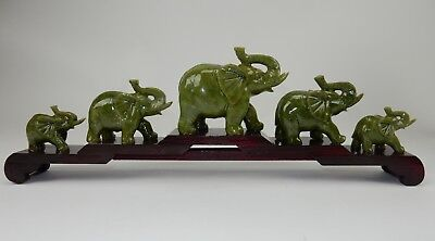 Gorgeous Chinese Intricately Carved Jade Family of Elephants with wood base 20""