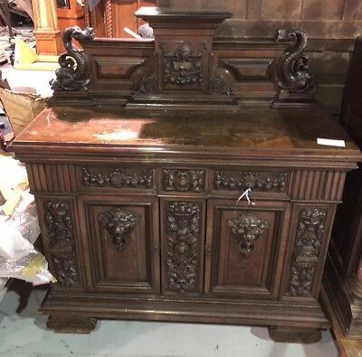 RARE Old 19th Century LARGE Walnut Baroque BUFFET DINETTE SERVER Table Sideboard