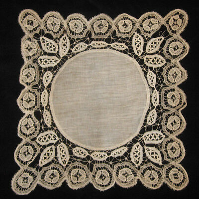 Antique Honiton Very Delicate Lace Handkerchief Hanky As Is