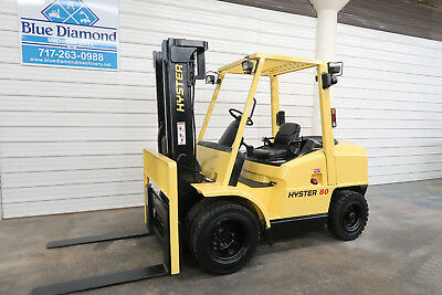 Hyster H80XM 8,000# Diesel, Pneumatic Tire Forklift, Three Stage, Sideshift