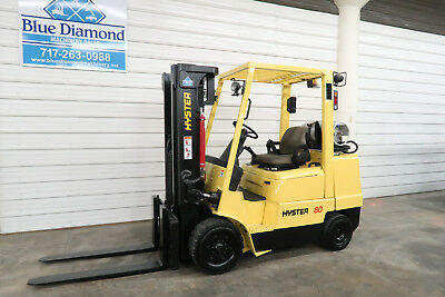 Hyster S80XM, 8,000# L.P. Cushion Tire Forklift, Triple, Sideshift, Very Low Hr!