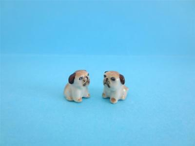 New Super Mini (Miniature) Two Cute Bulldog Figurine W/box *mint*
