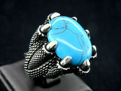 Turkish Handmade Ottoman Style 925 Sterling Silver Turquoise Men's Ring Size 12