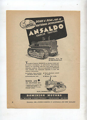 Ansaldo Crawler Tractor Advertisement removed from a 1951 Magazine TCA 70 AF8