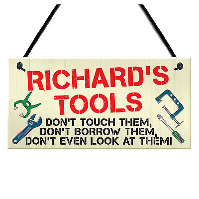 Personalised Tools Rules Man Cave Garage Shed Sign Hanging Plaque Garden Fu A6B5