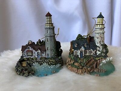 Thomas Kinkade Illuminated Lighthouse Ornament, two from Second Issue