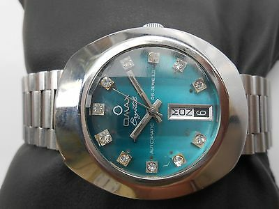 Rare Vintage Swiss Made Diamond Dial Omax Day Date Mens Automatic Wristwatch