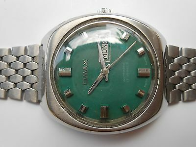 Rare Vintage Swiss Made Green Dial Omax Day Date Mens Automatic Wristwatch