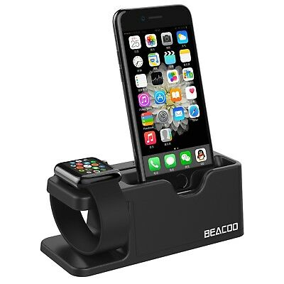 Apple Watch And iPhone Charging Dock Stand iWatch Charger Holder Bracket Black