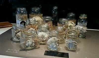 12 Beautiful Rustic Country Style Shabby Chic Style Glass Jars - Weddings
