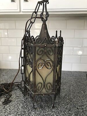 Gothic Vintage Wrought Iron Light Fixture Chandelier