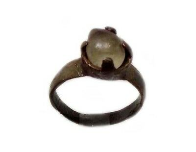 Roman Provincial Lycia Bronze Ring Original Glass Quartz Gemstone AD100 Size 6¾