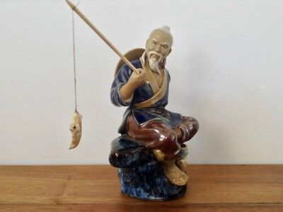 Handcrafted Pottery Mudman Shiwan Chinese Fisherman - Lovely Collectable Piece!