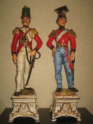 "Huge Antique Pair of 37"" tall porcelain soldiers, made in Italy, 19th century"