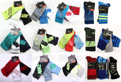 Nike Youth Boys 3 Pack Performance Cotton Cushion Crew Socks Size 3Y-5Y,5Y-7Y
