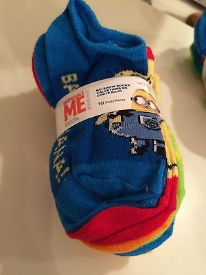 Despicable Me Socks Size Small 4-7.5 Socks Vibrant Colored Kids 10 Pack New