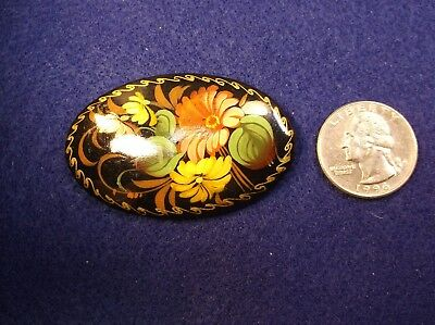 #1, Gorgeous Hand Painted Handcrafted Russian Black Lacquer Flower Brooch Pin