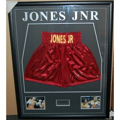 Roy Jones Jnr Hand Signed And Framed Boxing Trunks Tyson Pacquiao Mayweather Ali