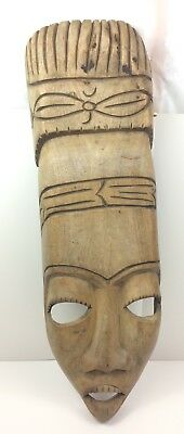 Vintage African Tribal Hand Carved Ceremonial Wood Mask Statue Wall Hanging Tall