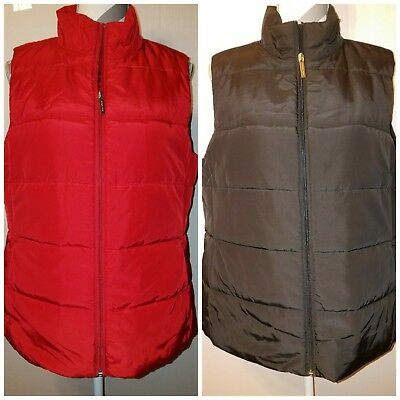 NEW Women's Michael Kors Quilted Puffer Vest Crimson Red/Silver Black/Gold L XL