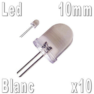 10x LED 10mm Blanches 35000mcd