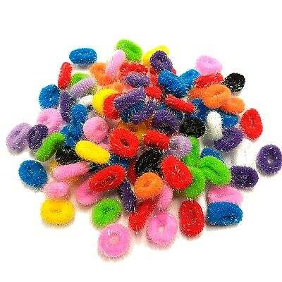 Pack Of 50 Glitter Assorted Colours Girls Kids Elastic Hair Band Bobbles