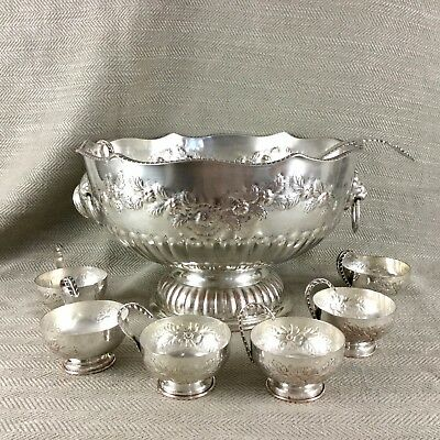 Vintage Silver Plate Large Punch Bowl Cups & Ladle Set Lion Mask Handles