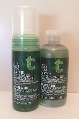 Body Shop Tea Tree Skin Clearing Foaming Cleanser And Toner. Brand New