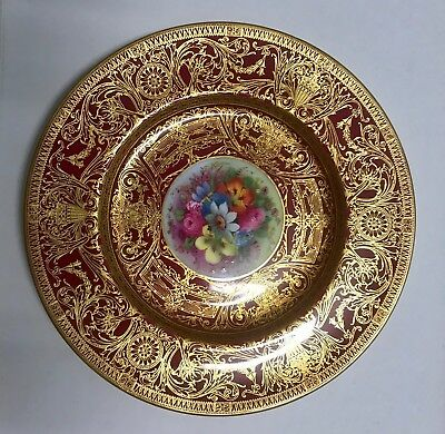 Beautiful Royal Worcester hand painted signed heavily gilded floral plate