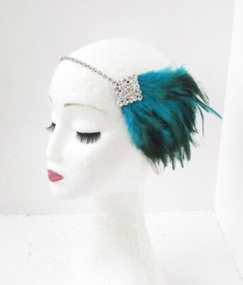 Teal Blue Green Silver Diamante Feather Headpiece 1920s Headband Flapper 5132