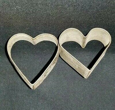 Pair of Antique Tin Heart Cookie Cutters Soldered Metal PA Dutch Folk Art