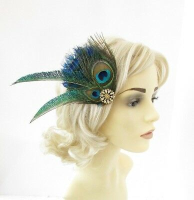 Blue Green Gold Peacock Feather Fascinator Hair Clip Races Cocktail 1920s 5133