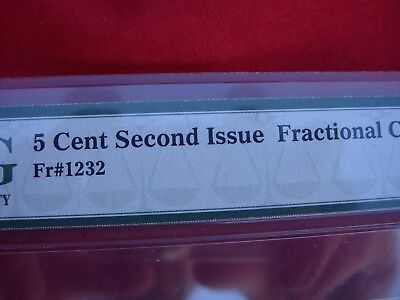 5 Cent Second  Issue 2nd Fractional Currency  PMG Choice AU 58 FR#  1232