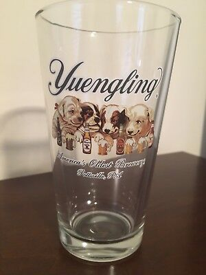 Yuengling Beer Pint Glasses 16 oz Puppy Dogs Logo America's Oldest Brewery *New*
