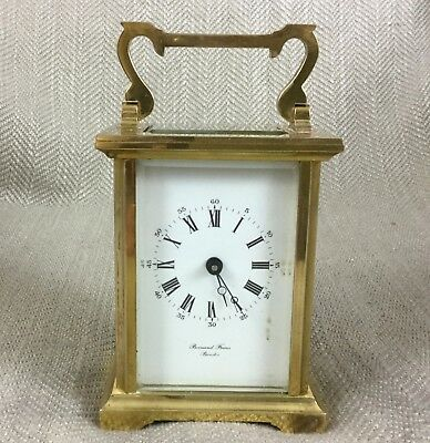 Bornand Freres Bicester Mechanical Wind 8 Day Brass Carriage Clock
