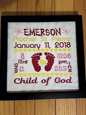 Baby Birth Announcement With Embroidered Details